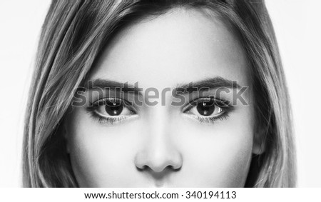 Eyes nose Woman face young beautiful healthy skin portrait black and white - stock photo