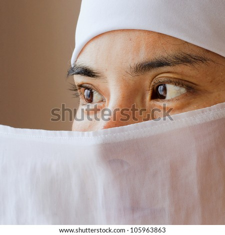 Eyes of a Muslim Asian Woman - stock photo