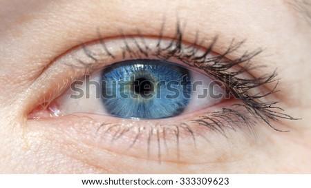 eyes of the white girls with blue eyeball closeup - stock photo