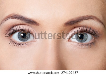 Eyes, opened, eyelid. - stock photo