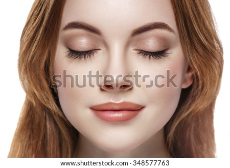 Eyes woman closed eyebrow lashes face close-up isolated on white - stock photo