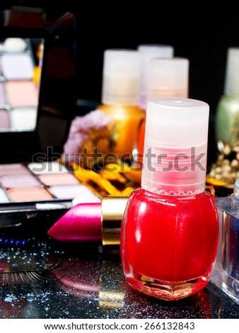 Eyeshadow, Lipstick, Mascara, Nail Polish, False Eyelashe - stock photo
