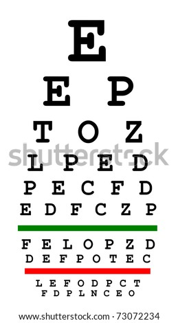 Eyesight test chart isolated on white background - stock photo