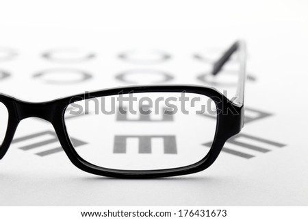 Eyewear and eyechart - stock photo