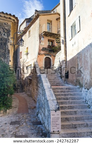 EZE - DECEMBER 3: The historic French village of Eze, France on DECEMBER 3, 2014 - stock photo
