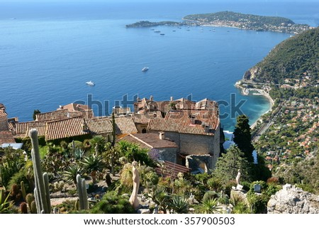 Eze on the french riviera is a magnificent village overhanging the peninsula of Saint Jean Cape Ferrat and offering a remarkable medieval architecture. The site is renowned in the worldwide. - stock photo