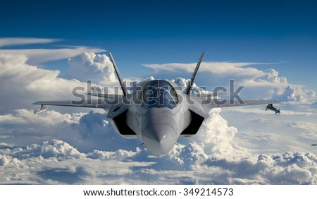F 35 , american military fighter plane.Jet plane. Fly in clouds. - stock photo