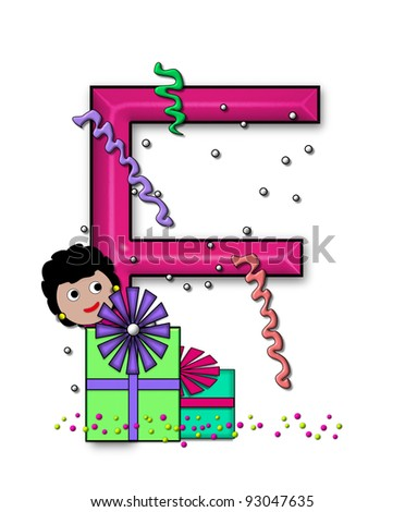 """F, in the alphabet set """"Birthday Letters"""", is surrounded by colorfully wrapped presents complete with bows.  Woman hides behind presents and peeks out pretending surprise. - stock photo"""