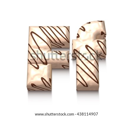 F letter of white chocolate with brown cream in 3d rendered on white background. - stock photo