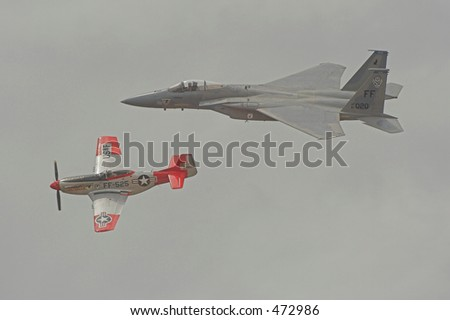 F-15 / P-51 heritage flight - stock photo