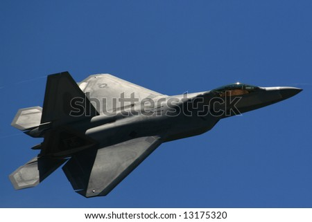 F-22 Raptor flying  at  Long Island air show - stock photo