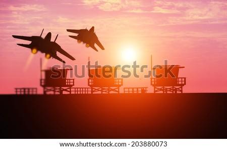 f-14 squadron in santa monica - stock photo