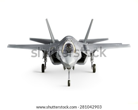 F35 strike aircraft front view isolated on a white background. - stock photo