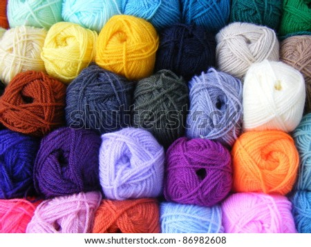 Fabric accessories for retail haberdashery,balls of wool - stock photo