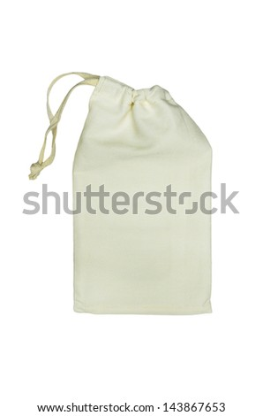 Fabric bag with purse string isolated on white background - stock photo