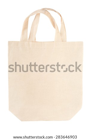 Fabric canvas bag isolated on white, clipping path included - stock photo
