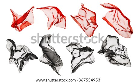 Fabric Cloth Flying, Flowing Waving Silk, Red Black on White background - stock photo