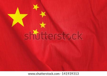 Fabric Flag of China - stock photo