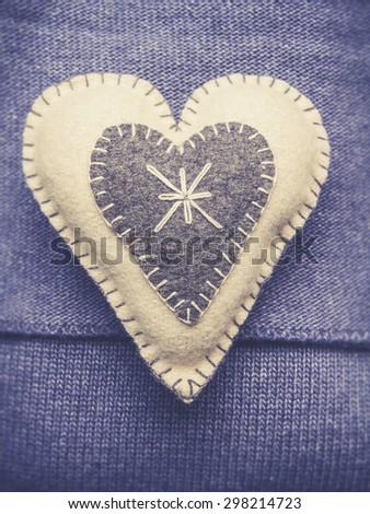 Fabric heart - stock photo