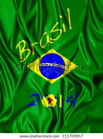 Fabric illustracion Brazilian flag and date of 2014. - stock photo