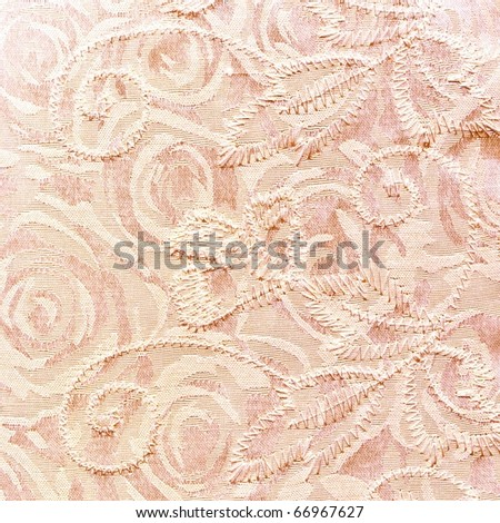 Fabric pink bakground with roses - stock photo