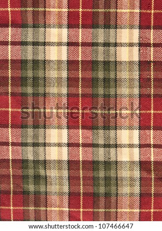 fabric plaid background in brow - stock photo
