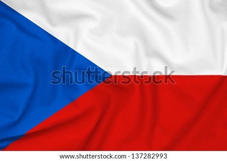 Fabric texture of the Czech republic flag - stock photo