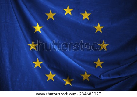 Fabric texture of the flag of European Union  - stock photo