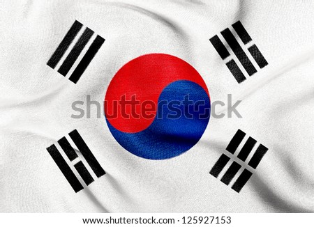 Fabric texture of the flag of South Korea - stock photo
