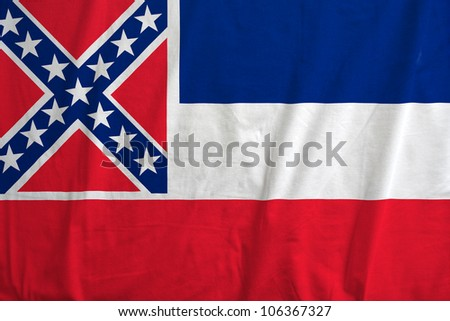 Fabric texture of the flag of the state of Mississipi, USA - stock photo