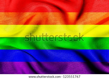 Fabric texture of the Gay flag - stock photo