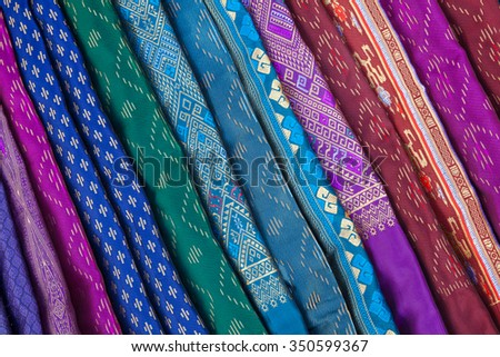 fabric thai pattern background. - stock photo