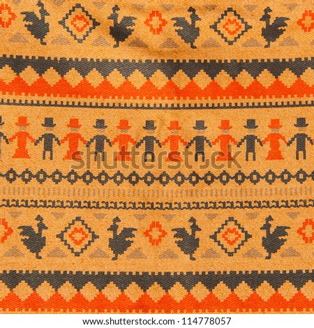 fabric with ethnic pattern - stock photo