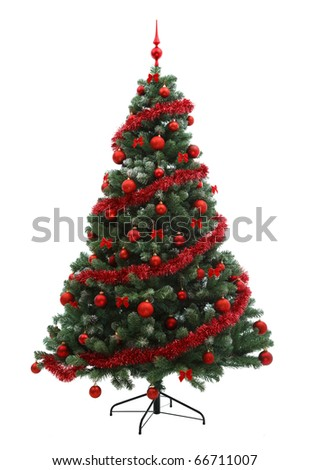 Fabulous Christmas tree with red ornaments on it - stock photo
