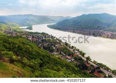 Fabulous Danube bend at Visegrad in Hungary - stock photo