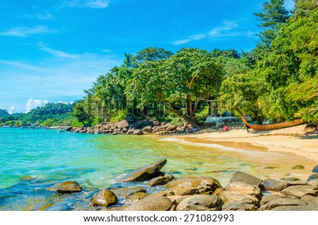 Fabulous exotic beach with white sand and high palm trees - stock photo