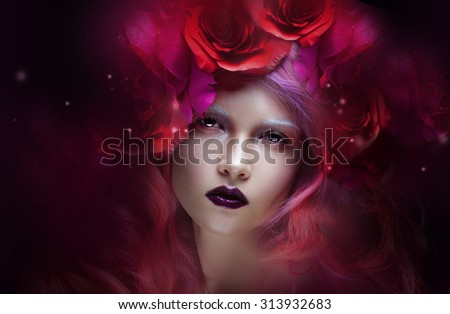 fabulous girl with scarlet hair. Portrait in a wreath of roses, surrounded by the glare  fireflies - stock photo