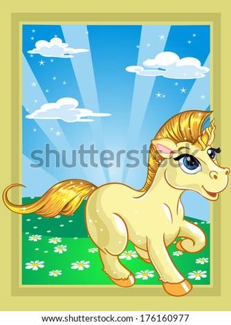 fabulous unicorn on the fairytale landscape - stock photo