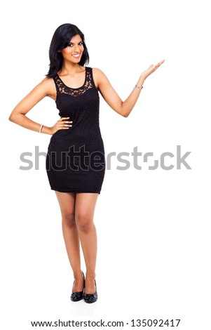 fabulous young indian woman presenting on white background - stock photo