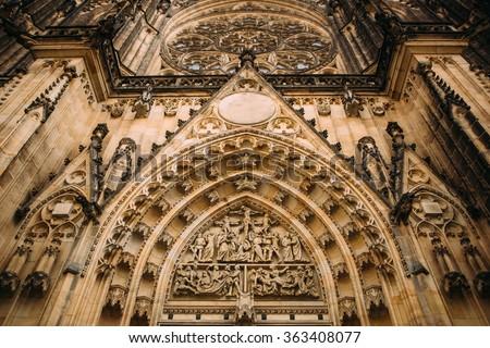 Facade detail of Gothic Church - stock photo