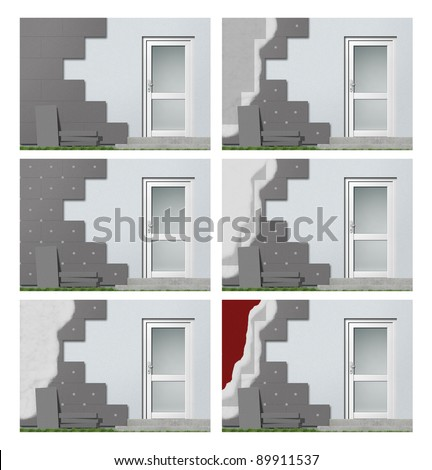 facade insulation step by step - stock photo