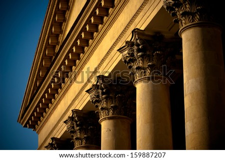 facade of a building with columns - stock photo