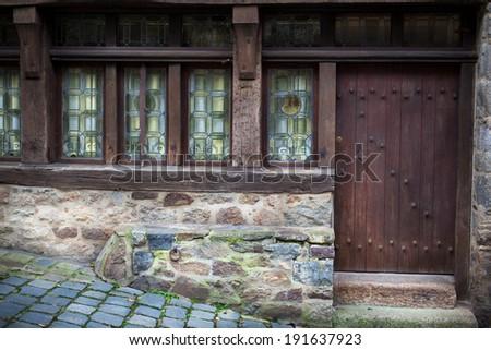 Facade of a house, Dinan, Cotes-D'Armor, Brittany, France - stock photo