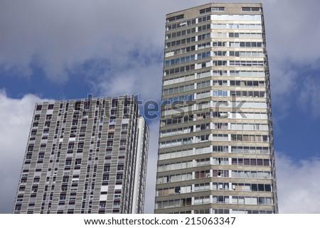 Facade of a modern apartment building in Paris, France - stock photo