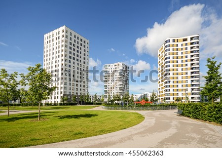 Facade of  a new residential buildings, new apartment towers in the city - stock photo