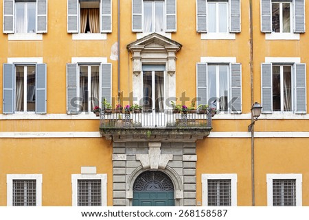 Facade of a residential house in Rome, Italy - stock photo