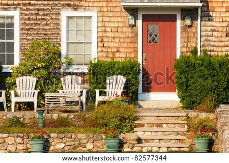 Facade of a typical New England home - stock photo