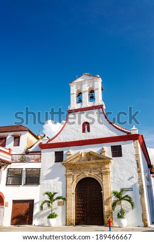 Facade of a white colonial church in the historic center of Cartagena, Colombia - stock photo
