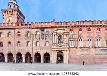 facade of Accursio palace (Town hall) in Bologna, Italy - stock photo