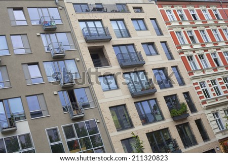 Facade of an apartment building in Berlin, Germany - stock photo